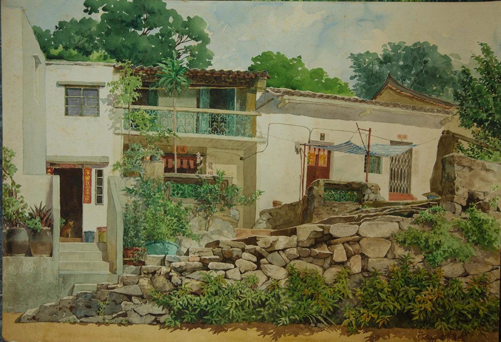 昔日西貢水路交便較山路便利,不少僑鄉將舶來品轉運大陸,此為江啟明1988畫的《西貢舊墟》。
