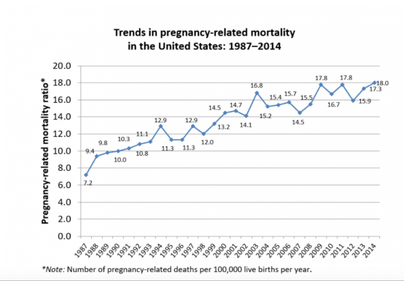 Figure from the Pregnancy Mortality Surveillance System, US CDC, accessed on 13 August 2018