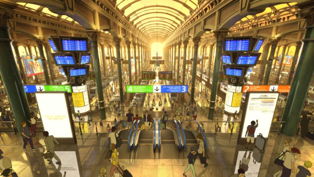 片中的未來東京車站畫得相當仔細。導演特別邀來新幹線設計師龜田芳高,協助設計當中的新幹線外觀與車廂,暗黑風格相當有型。