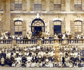 庇理羅士的第一代校舍位於荷李活道。
