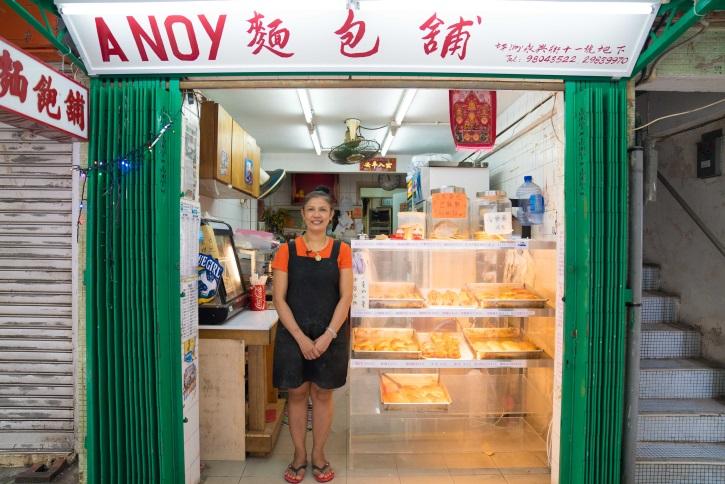 Anoy為報答伯伯的恩情,特地保留「麵包鋪」原名,只在前面加上Anoy二字作識別。