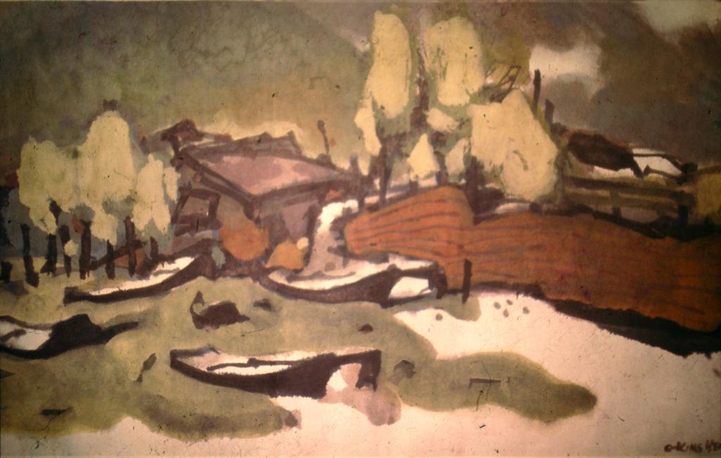 簡兆明年少時從《亞洲周刊》專題看到嚴以敬的這幅沙灘水彩畫,萌生拜師念頭。
