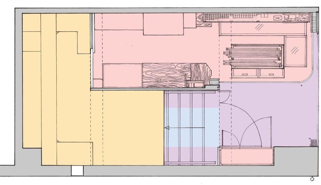 根據用途,生豪他們認為樓梯底可分為:公共空間(藍色)、店外默契空間(紫色)、店內空間(粉紅色)及店內隱藏空間(黃色),可看得出店主與客人彼此默契。