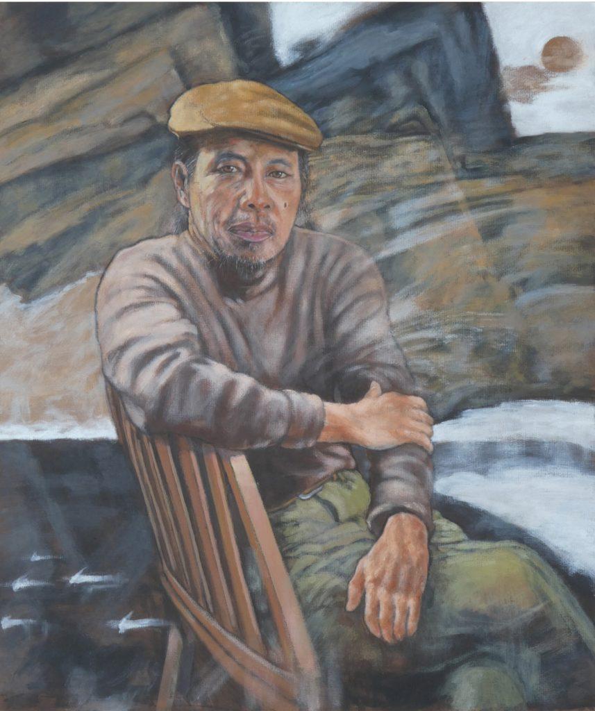 今年7月中,曾向嚴以敬拜師的簡兆明計劃為他畫像,選定他一本畫集裏的照片,原相左手被裁去,畫作補回,並以其畫作為背景。可惜畫作未及完成,他便離世。