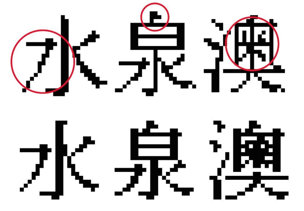 九巴版(上)的「水泉澳」造得馬虎,水字的左邊筆劃像手震;泉字上半部的「白」首筆應為彎的撇筆,現為直筆。下半部的「水」直筆幼了。澳字的三點水,最後一劃太高,與第二點相連了,不美觀。右邊的「米」字上欠了一撇,「米」字的筆劃幼了,其實有空間加粗。Raymond版(下)明顯較整齊俐落。