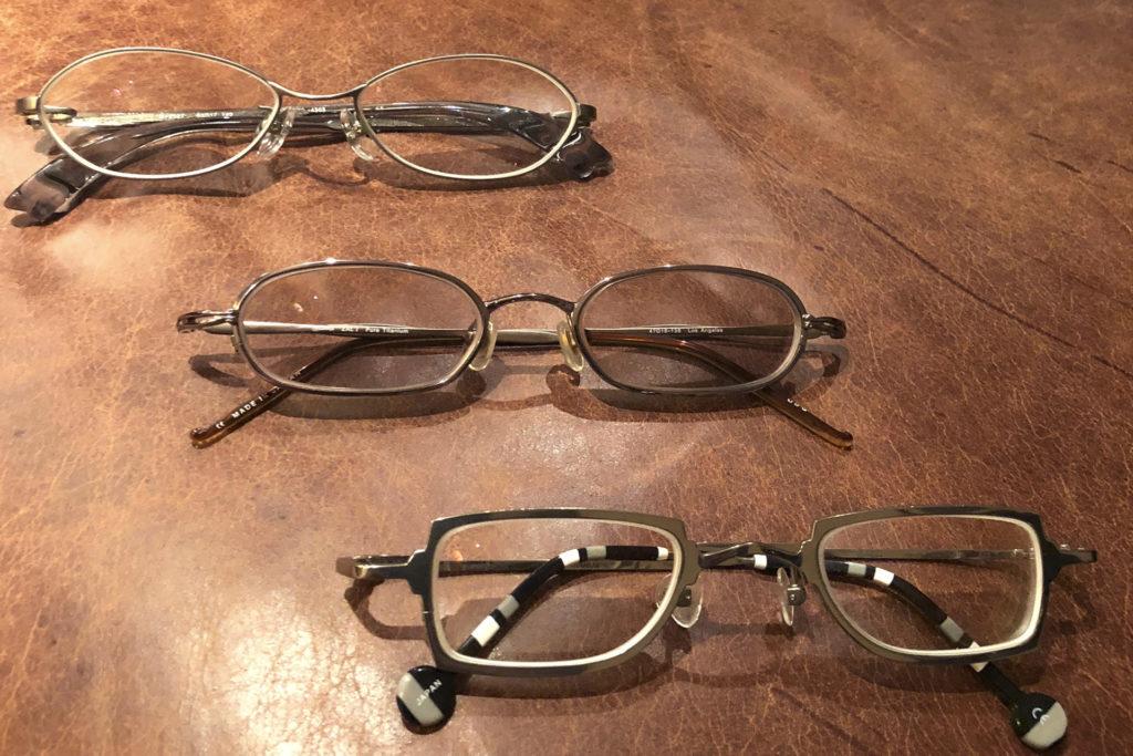 這三副眼鏡是Jeffery二十多年前尚未入行時便買來收藏的,他形容當時特別喜歡這類細副的款式。