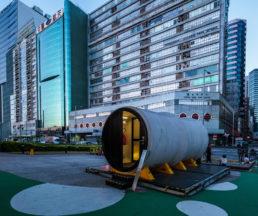「OPod 水管屋 」是一個實驗性和低成本的微型居所,可在100平方呎範圍內可安置一至二人居住。圖片由James Law Cybertecture提供。