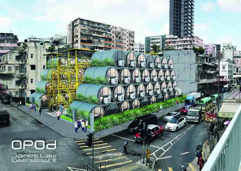 「OPod 水管屋 」模擬圖,可在城市任何空置位置堆疊。圖片由James Law Cybertecture提供。