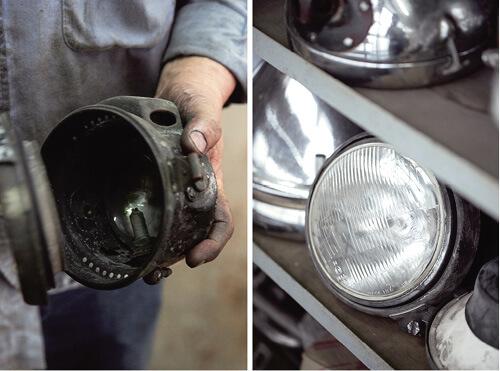 內有一個大層架,三層都放滿大大小小的車燈。牧哥手中拿着的是煤氣燈,要先打開燈罩點火,才能着燈。
