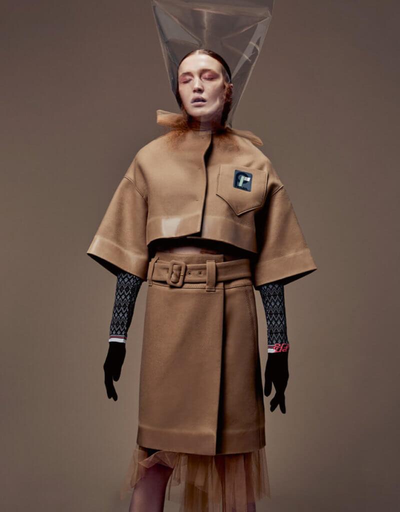 Inner Dress $9,700, Jacket $17,700, Gloves $2,500, Skirt $15,850 from Prada