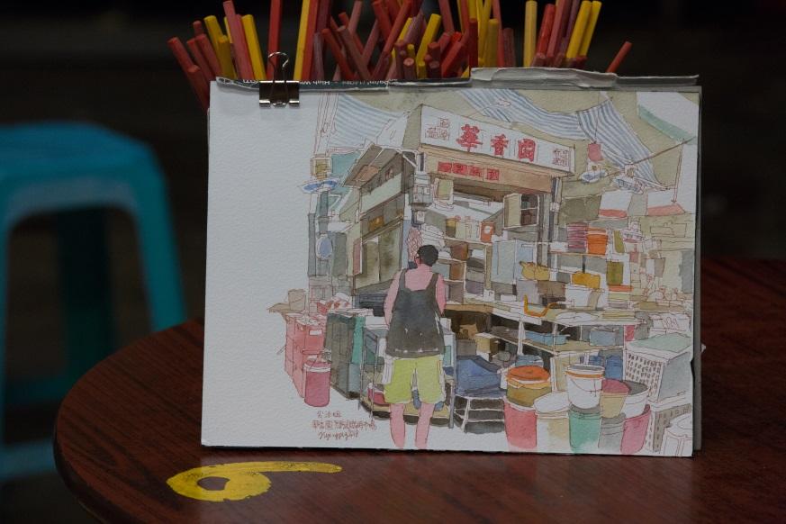 插畫由 @飛天豬Flyingbird寫生所畫,記錄華香園的一點一滴。