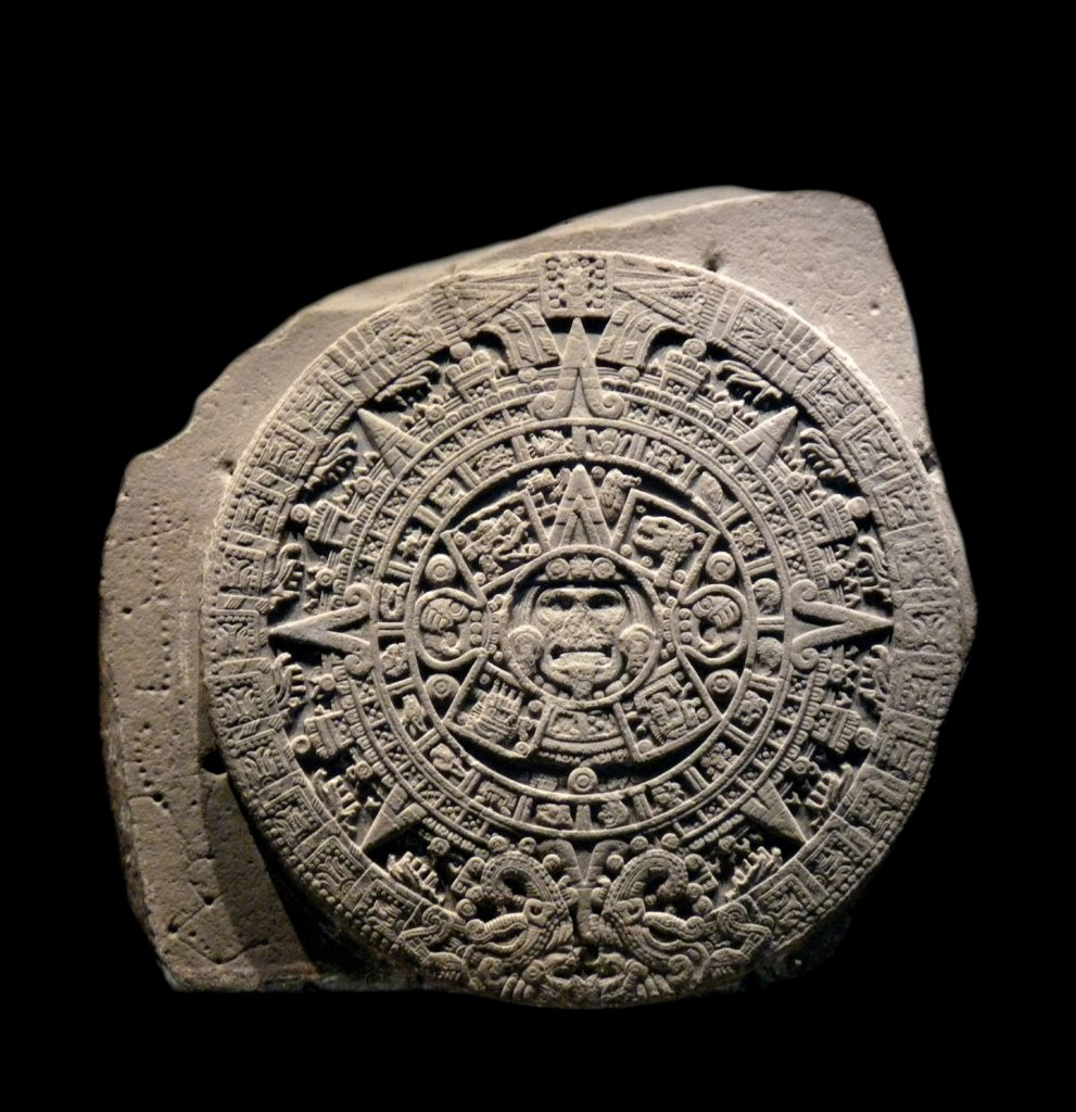 The Aztec calendar stone, Sun stone, or Stone of the Five Eras is a late post-classic Mexican sculpture saved in the National Anthropology Museum, Mexico City and is perhaps the most famous work of Aztec sculpture. Circa 15th century
