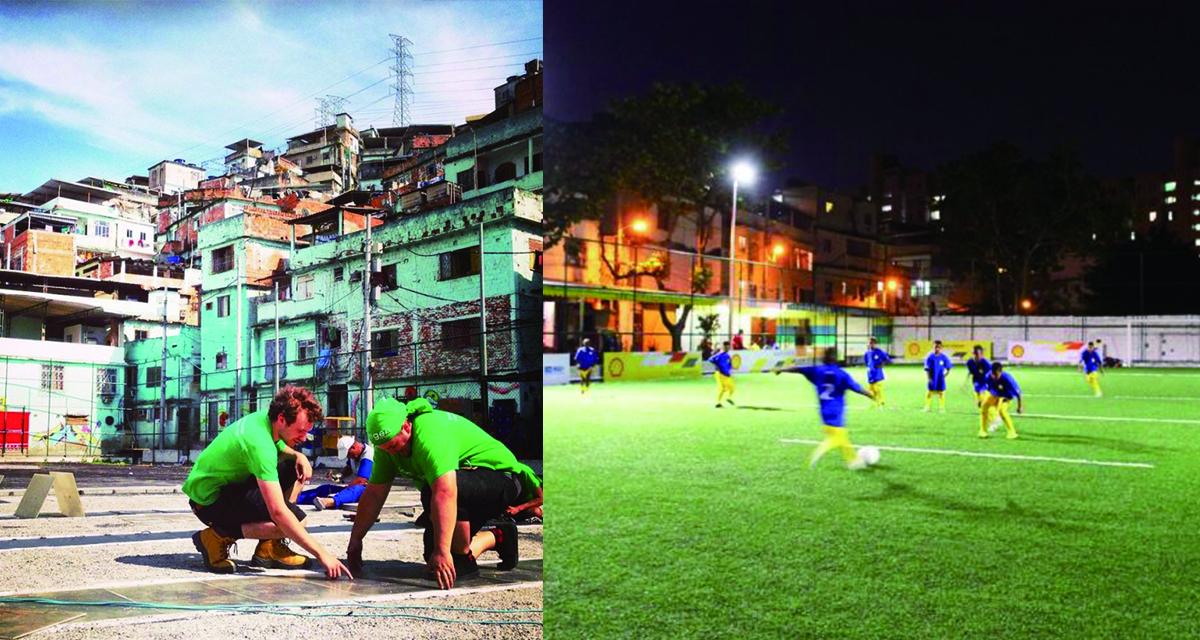 巴西球王比利於2014年促成「發電球場」的計畫,在位於里約的球場草皮下鋪設200塊Pavegen發電磁磚。