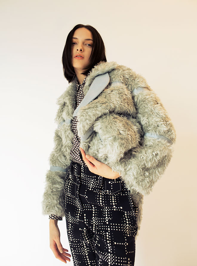 Silk skirt $8,500, mohair fur/wool coat $24,000, wool shorts $6,800 from Bottega Veneta