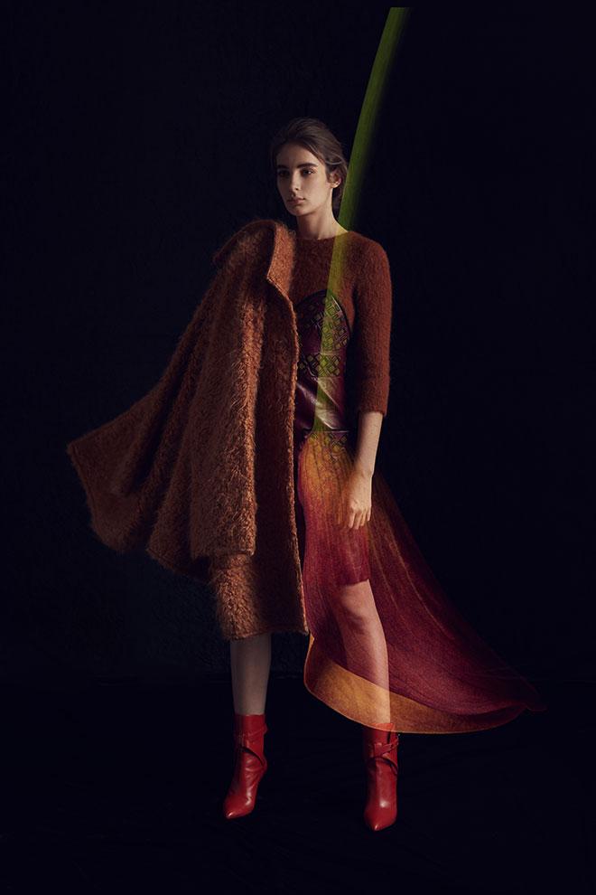 Dress $58,150, coat $35,000, boots $9,200 from Bottega Veneta
