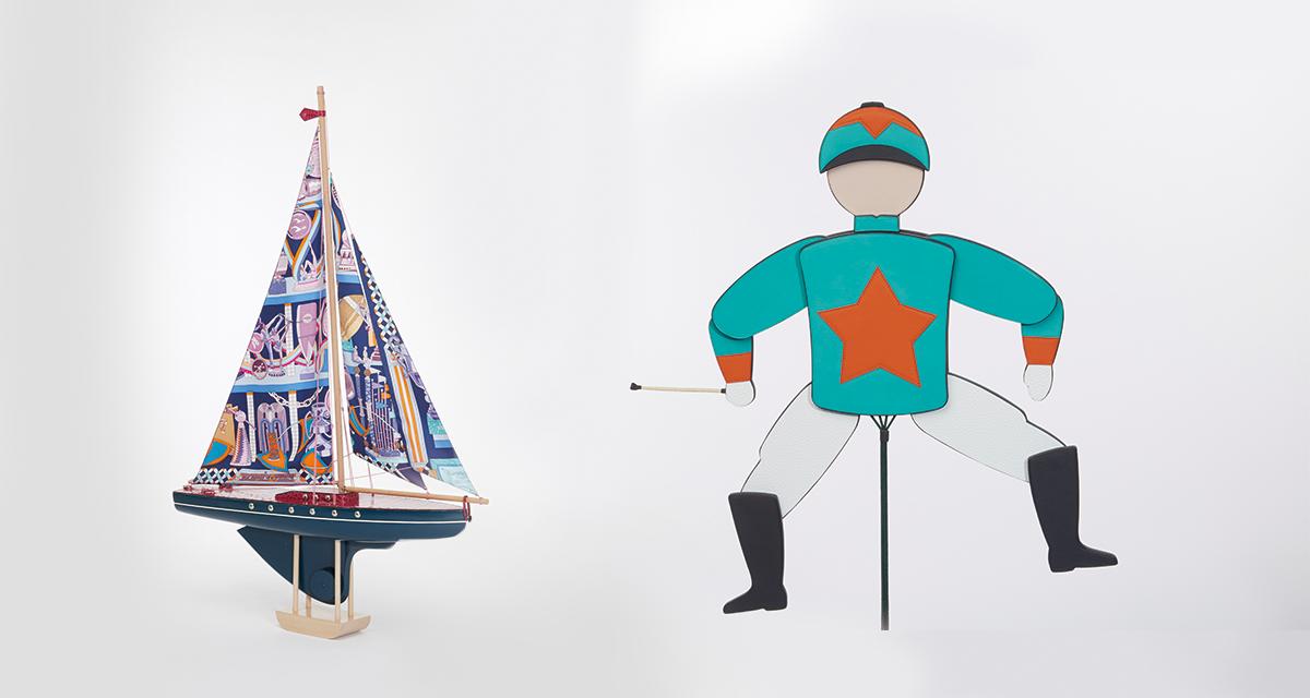 (上)帆船擺設拼合皮革、布藝、木材等物料,件件獨一無二。 (下)皮革騎師衣帽架玩 味十足。