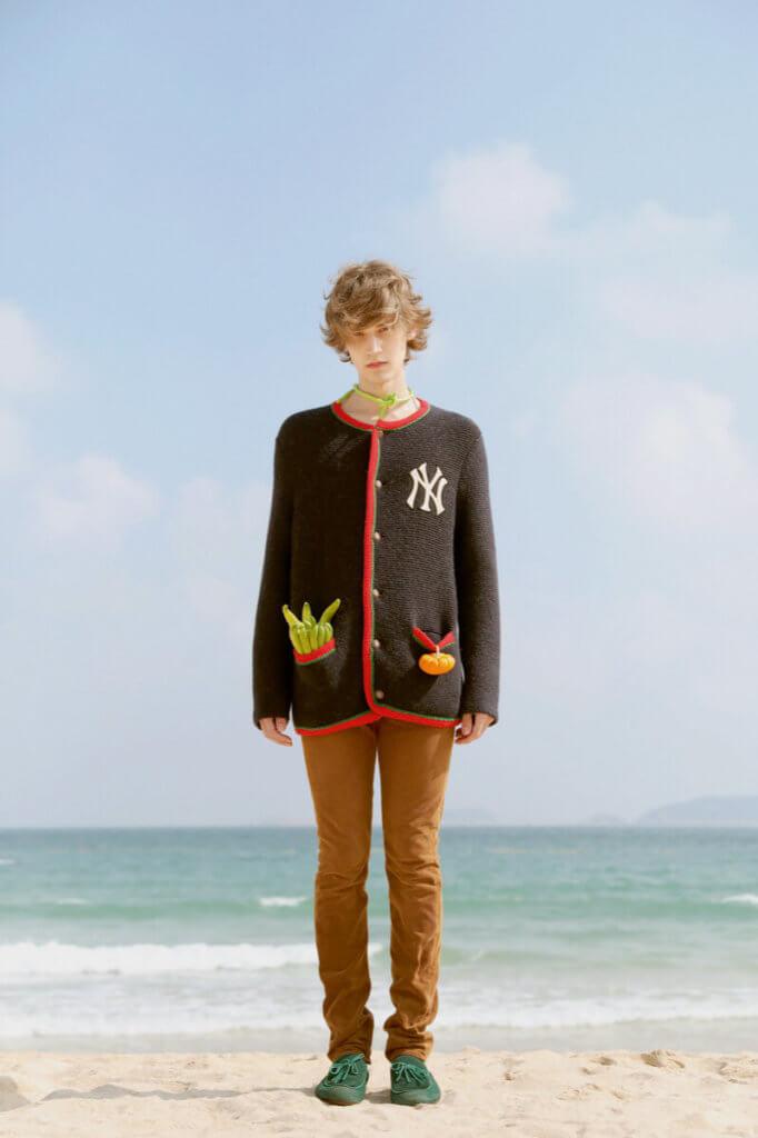 Cardigan $17,700 by Gucci, Pants $5,450 by Saint Laurent, Shoes $6,450 by Bottega Veneta