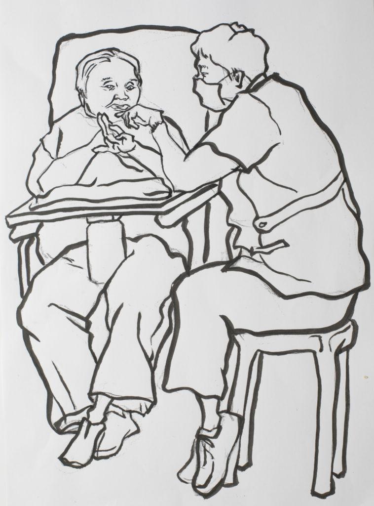 肥嘟嘟婆婆天生樂觀愛笑,人見人愛,心寬體胖呢。護理員都喜歡湊過去和她玩,和她聊天。儘管婆婆吐字不清,咿咿呀呀,大家就算聽不明也會笑一番。