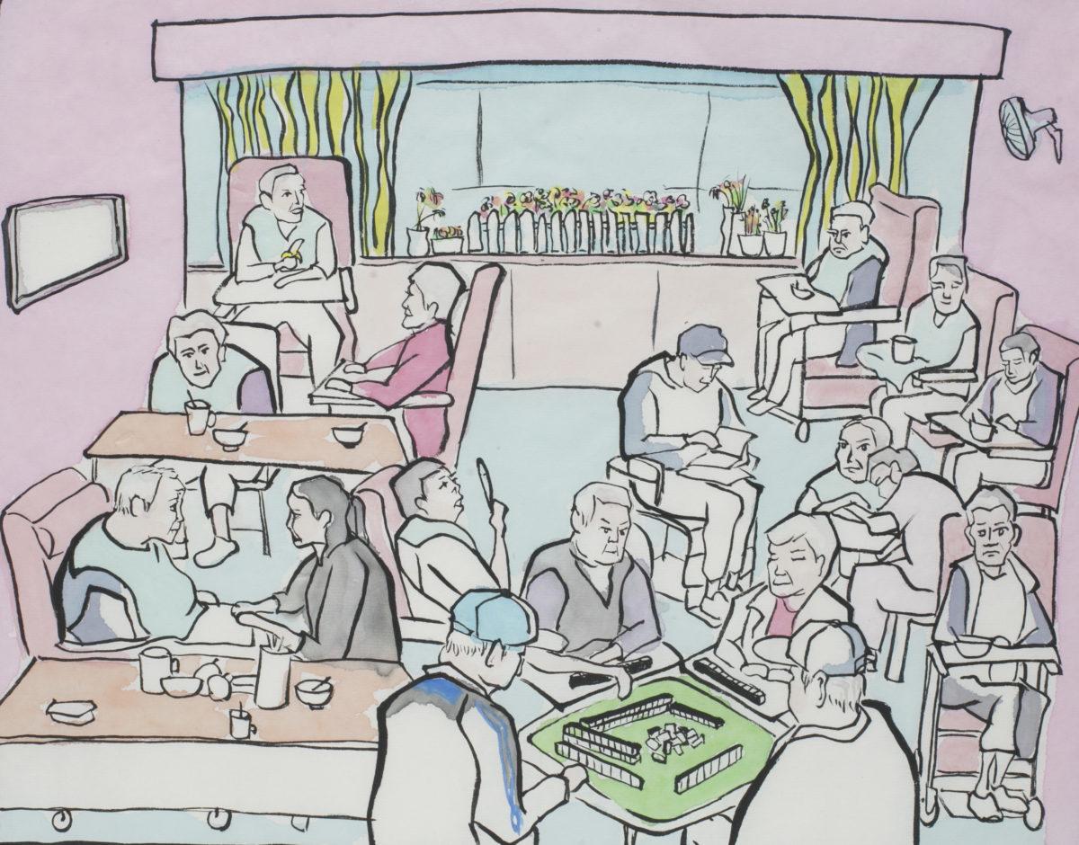 每天下午茶時間,安老院的老友記聚首一堂,在大廳裏舒展一下,未必是最理想的生活,但亦十分熱鬧。雖然行動不便,但是每個人都是一個生動的故事,每個人都是獨特的。