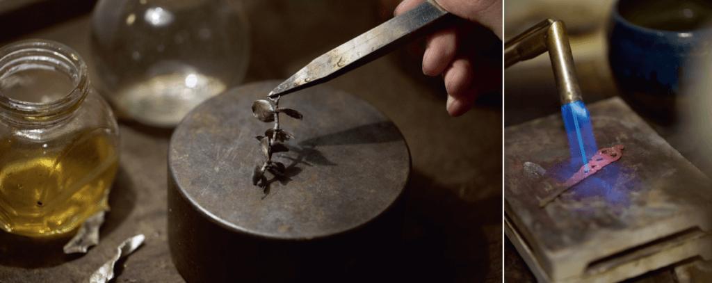 """""""(左)金工師傅一「埋枱」工作,就不會用雙手直接接觸產品,以免目測不出產品溫度而燙傷。"""