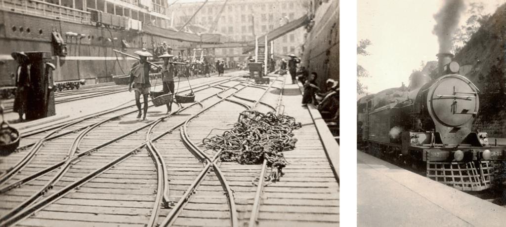 (左)1920年代梳士巴利道是九龍面向世界的樞紐,尖吵咀火車站旁邊除了有前往香港的天星小輪碼頭外,現時新世界中心位置有藍煙囪貨倉碼頭(Holb's Whorf), 可見當時交通已連接到歐美,是名副其實的國際城市。 (右)當時的九廣鐵路火車還是燒煤的蒸汽火車。