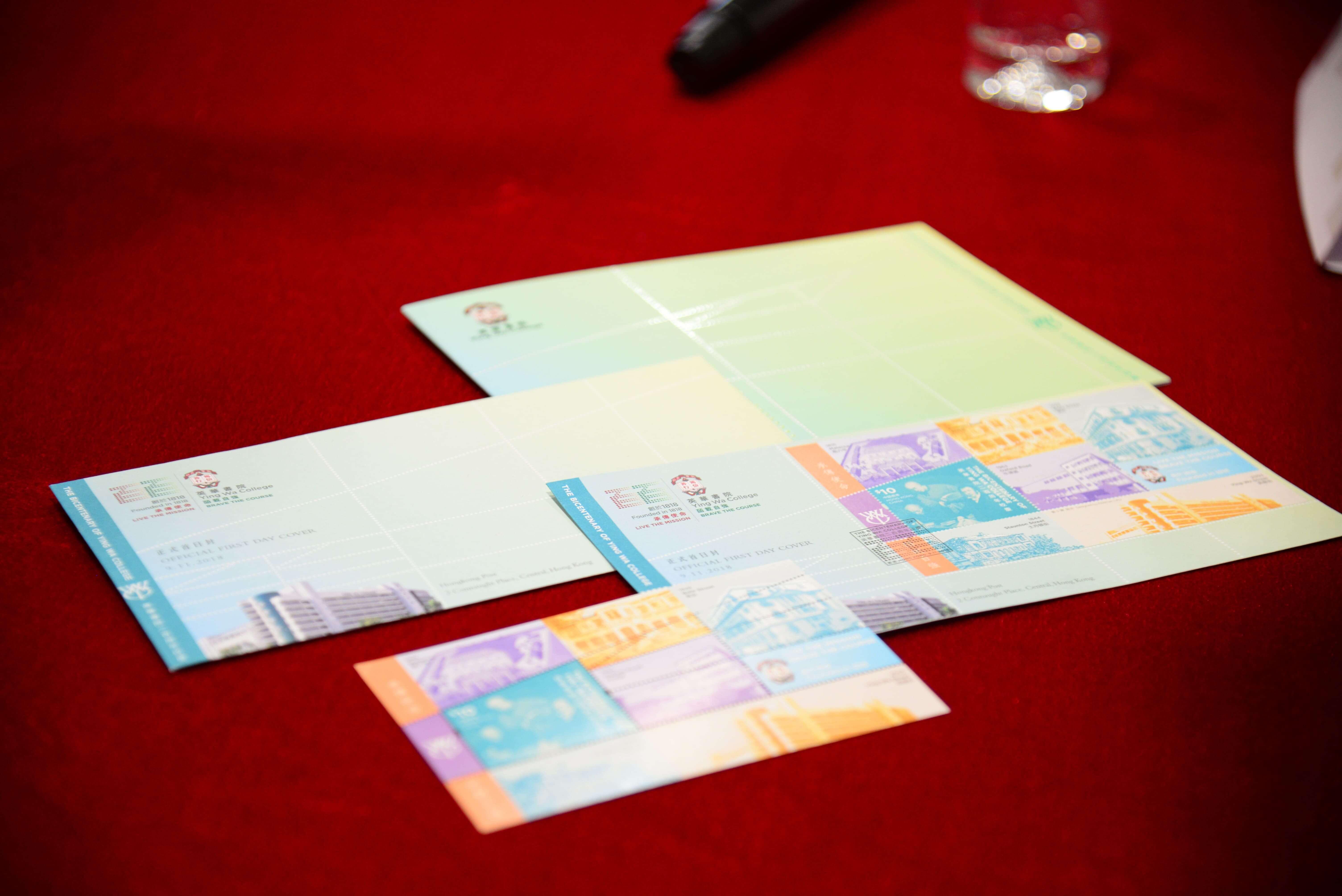 劉小康以「承傳使命 皕載自強」為題, 為母校設計二百周年郵票,展示書院創辦人馬禮遜牧師及書院不同時期的校舍。(受訪者提供)