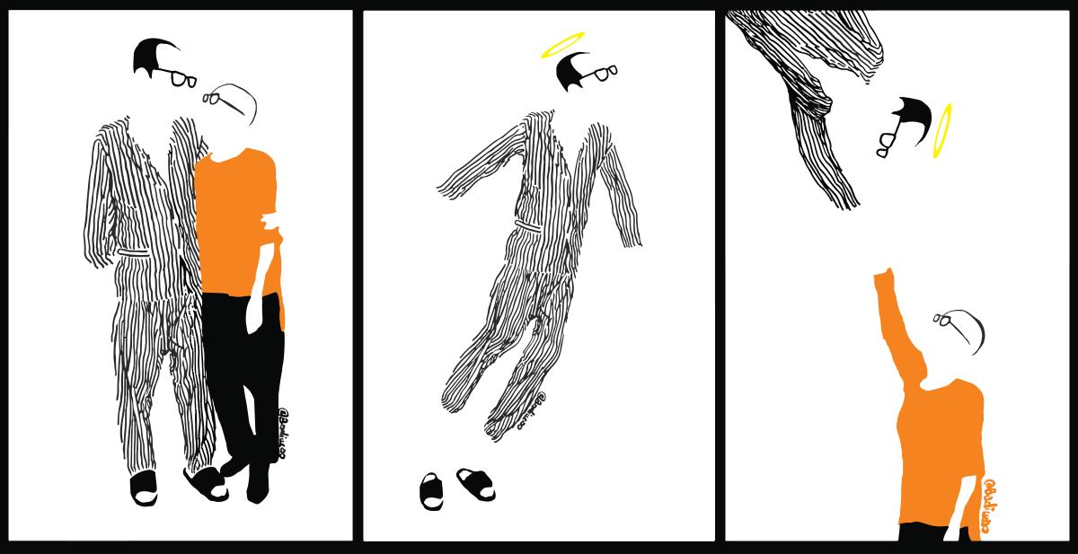 巴丟草一直以漫畫爭取釋放劉曉波,《中國病人》(左)繪畫了劉曉波與劉霞相擁姿態,劉曉波病逝後,他則多畫了兩幅悼念。