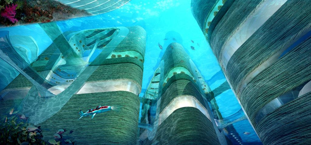 """中交四航院委託ATD在珠江口設計的""""Floating City"""",垂直穿越水上和水底世界。原本集旅遊、商業和娛樂等多功能項目,在今屆深港建築雙年展搖身一變,成為一個有如「難民方案」的希望城市。"""