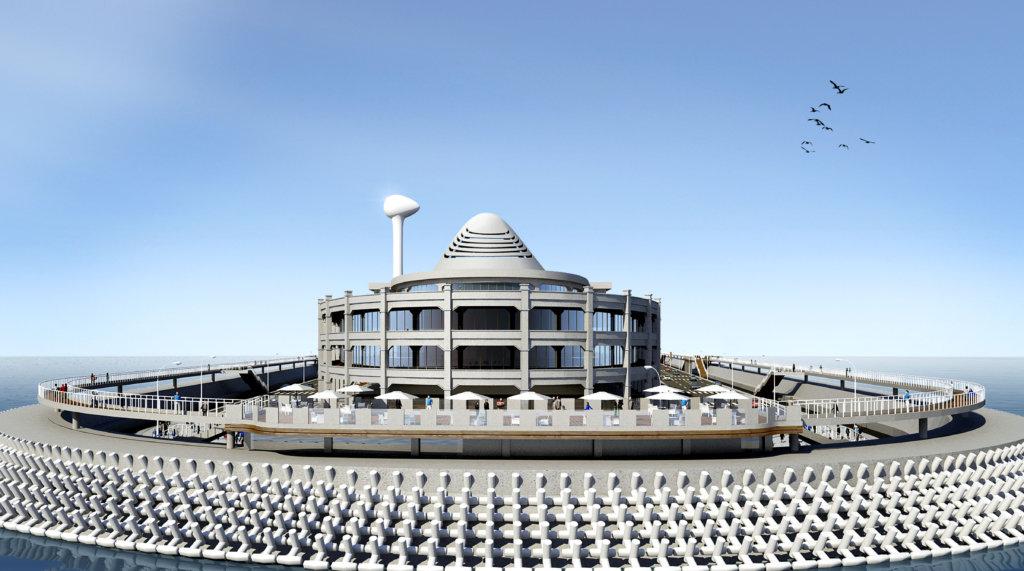 港珠澳大橋隧口人工島的設計,本來的功能已包括旅遊中心、購物和展覽場地。