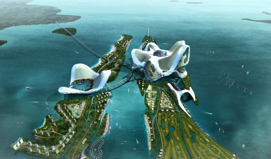 2012年中交四航院委託ATD在珠江口橫琴南面填海建島,設計另一個多功能之城,范鐵說那還正在興建之中。