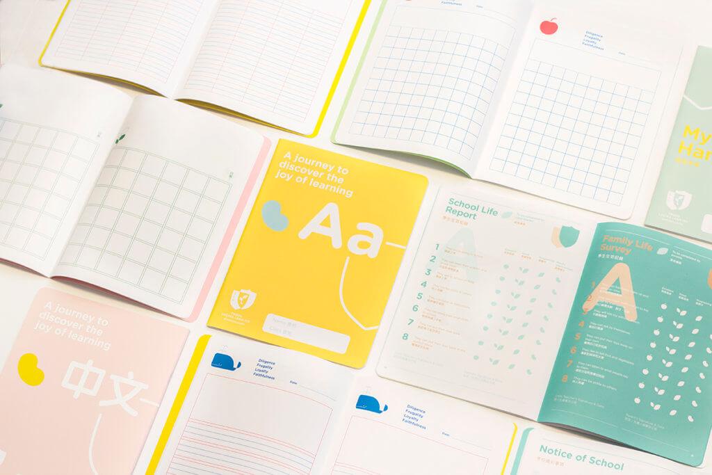 課本、手冊設計也貫徹室內設計的用色。