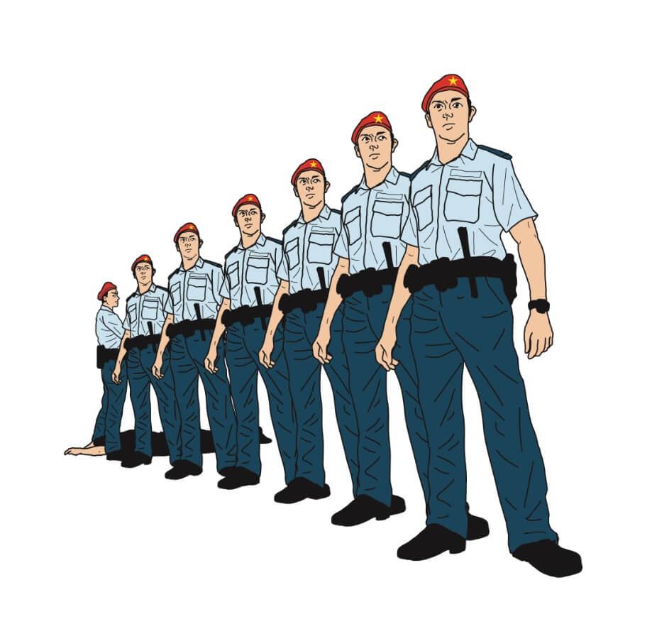 繪於2015年4月的《七警未解決》,叫人反思究竟警察為誰而工作?