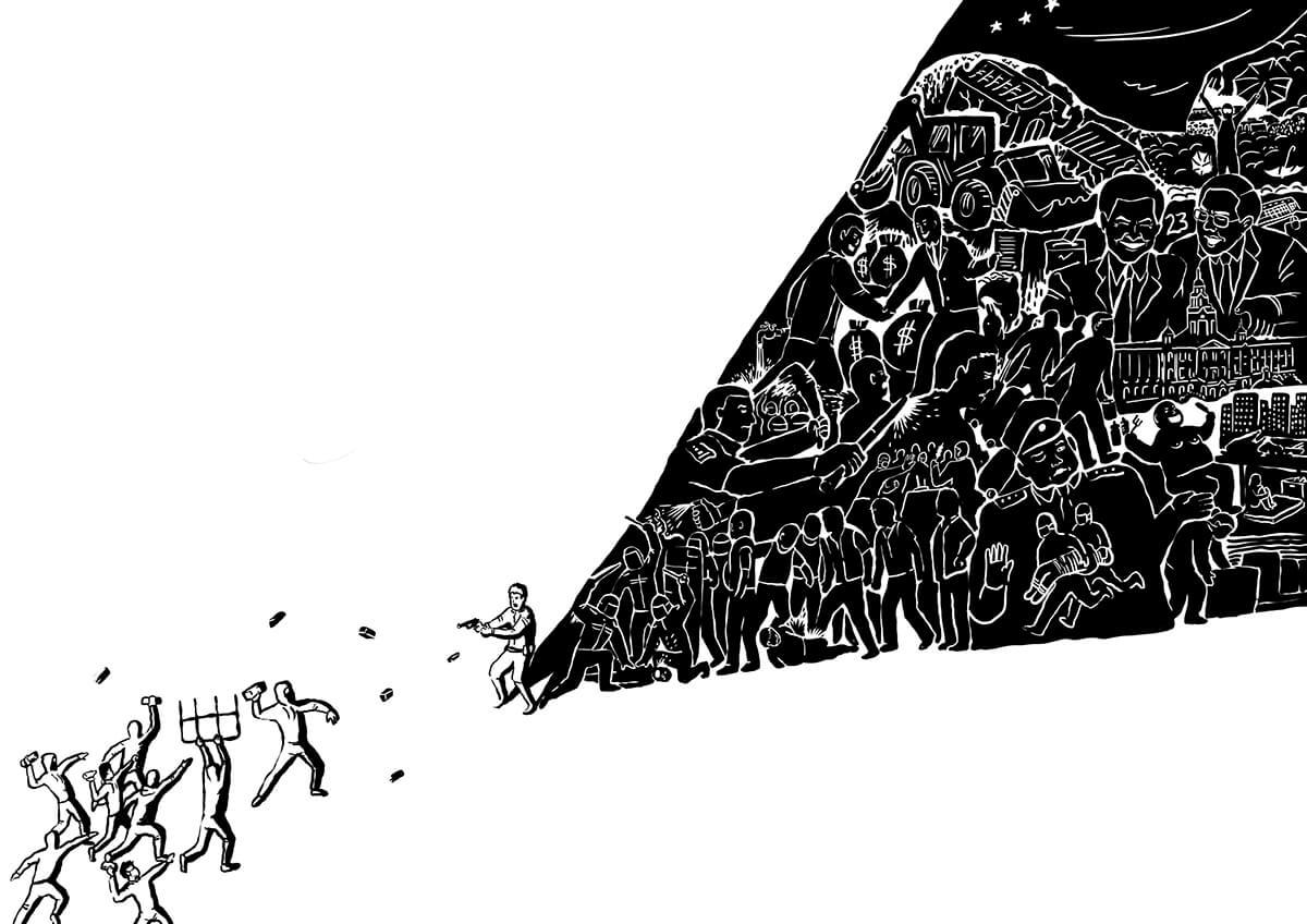 Sowinghong繪畫的《眼前路》,旺角魚蛋革 命,人們只見到在明的示威者擲磚,卻看不 見執法者背後的暗地種種。