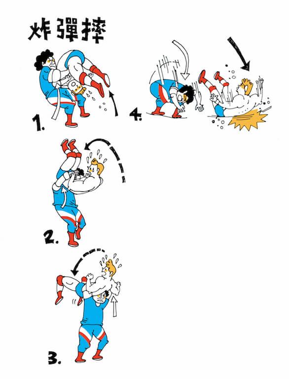 將對手從高空摔下,令對手的背部着地,是最基本的炸彈摔,還可以演變出許多款式,常見的有坐式炸彈摔。另一比較花巧的款式是藍色閃電炸彈摔,先扛起對手,然後轉上幾圈,最後才將對手摔下。(插畫:Stella So)