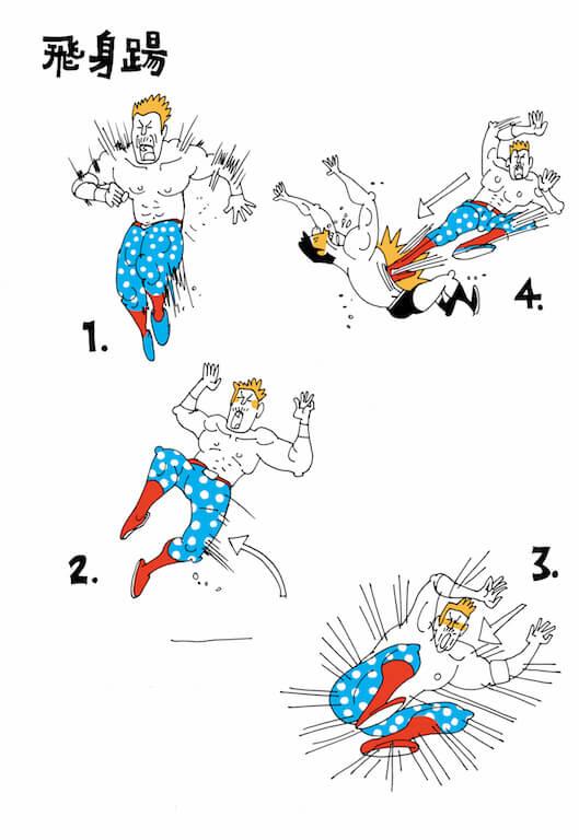 助跑後,身體向左或右側跳起,以雙腳踢向對方。通常會瞄準對方的的頭側、胸口或腰間。(插畫:Stella So)