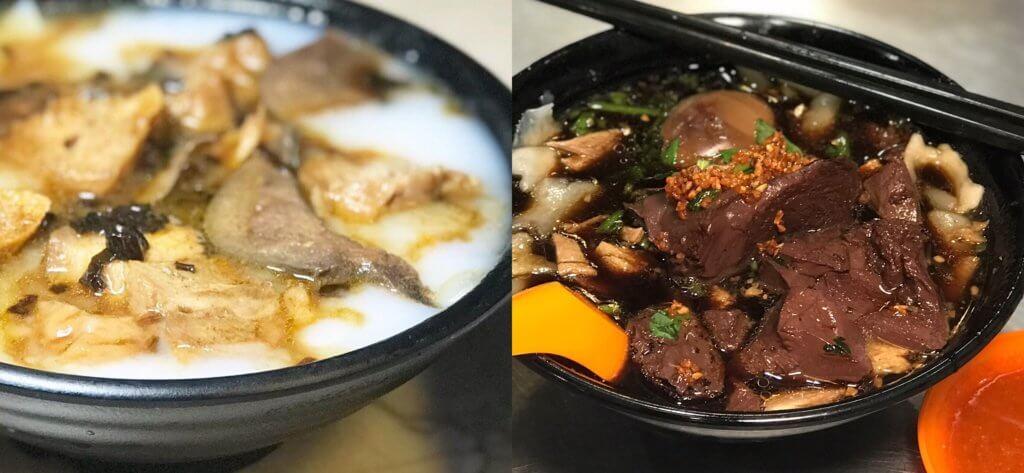 兩碗「粿汁」;左面是香港「好蔡館」,右面是檳城汕頭街「鴨粥粿汁」,可以看到兩者明顯的分別。
