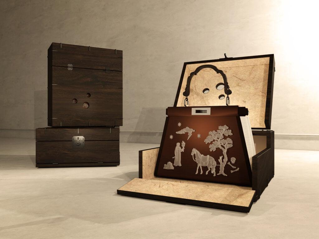 由Teo Yang設計的Peekaboo手袋向韓國女性擷取靈感,透過在Peekaboo帆布手袋上描繪抽象的朝鮮王朝女性形象,展現韓國傳統女性如何隨時日演變。