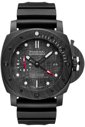 錶殼採用carbotech鑄造,該款 嶄新物料由沛納海率先引入高級製錶界,以碳纖維為基礎成分;與此同時,AC75單體帆船的船身,同樣採用碳纖維物料製造。