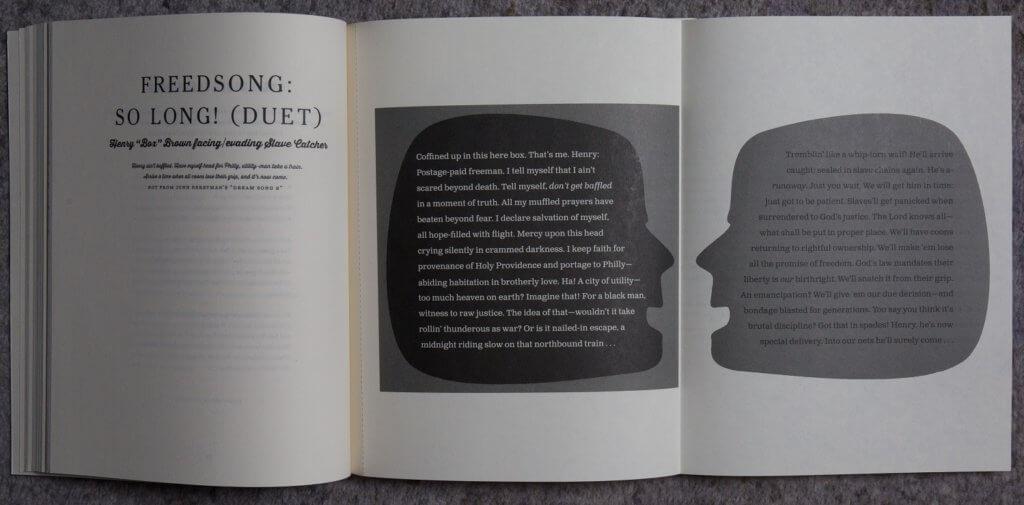"《Olio》有多個拉頁,這個顯示了黑奴Henry ""Box"" Brown兩種截然不同的心態。他為了自由,曾經藏身木箱偷走。"