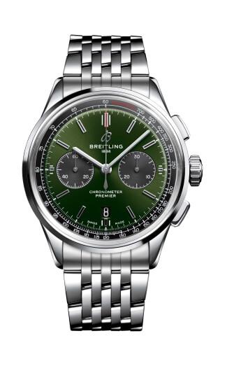 Premier 01 Chronograph 計時碼錶另備40mm的英倫賽車綠面款式,搭載B01機芯,乃品牌來年與Bentley古董車的最新合作。