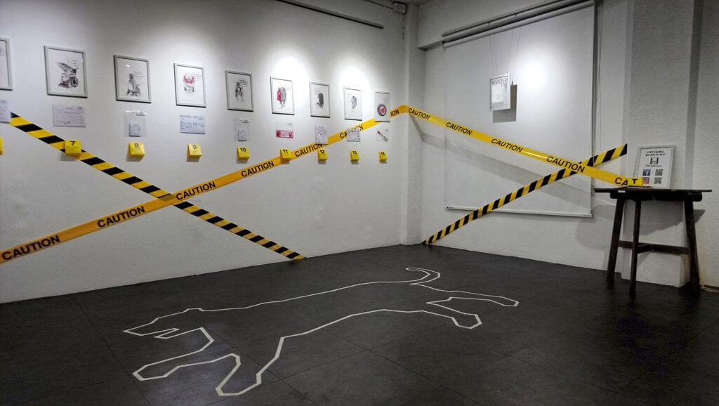 「凶案現場」原畫展的展場佈置有如謀殺案的犯罪現場,寓意人類就是謀殺動物的兇手。
