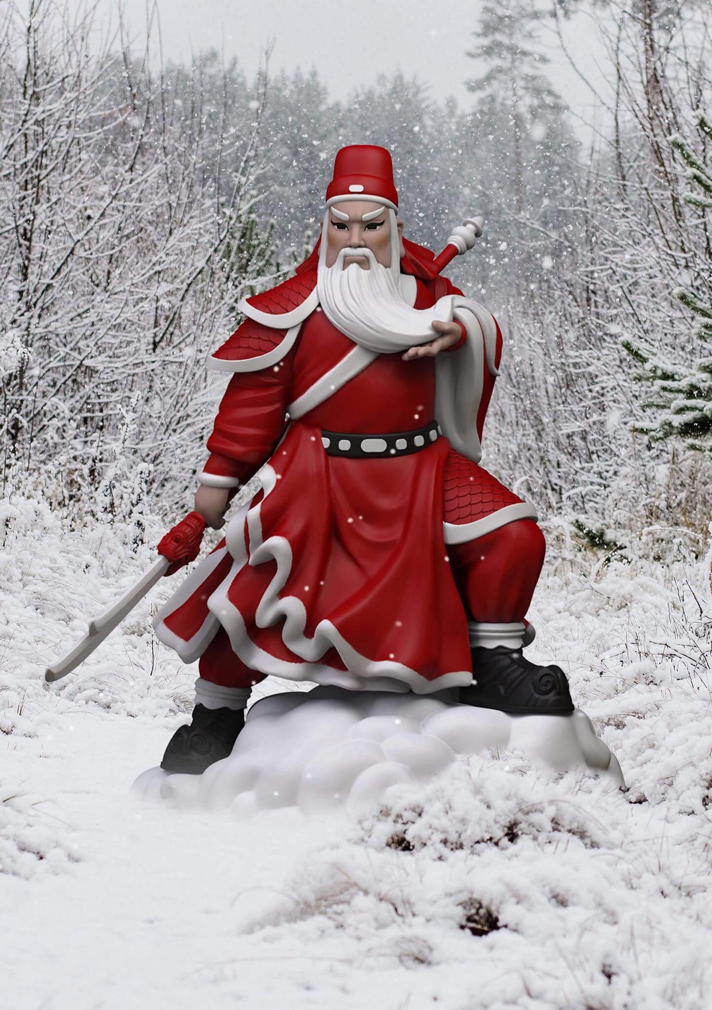 關聖誕君的白邊紅袍皺褶極 富動感,腳下是雲是雪?迪 嘉謂:「兩睇」。