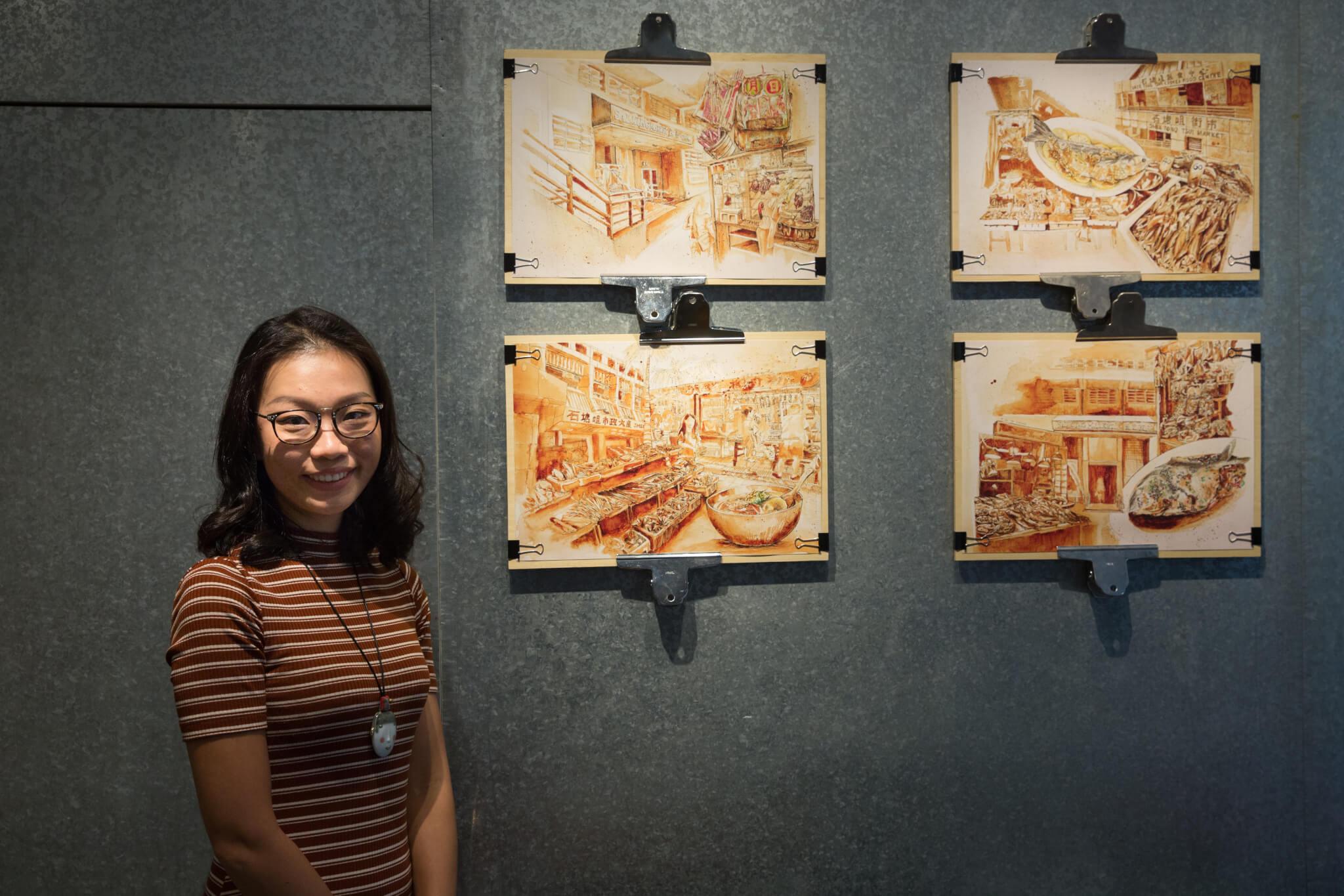 除了咖啡畫,Ling亦會以「一筆畫」手法創作。