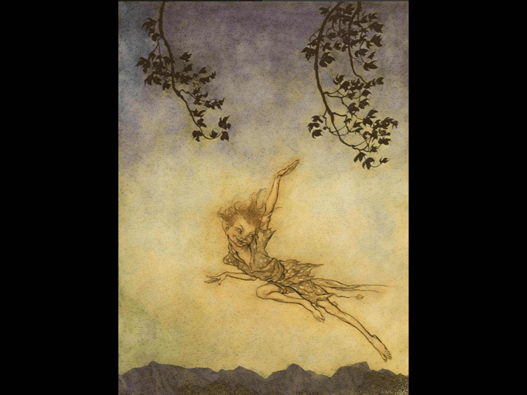 Arthur Rackham 替莎士比亞名劇 《仲夏夜之夢》畫的插畫 ․畫中人物是小妖 Puck,畫得晶瑩剔透 ․小妖曰:吾往矣,吾往矣, 吾往神速何所似? 猶勝那韃靼弩箭乍離弦。