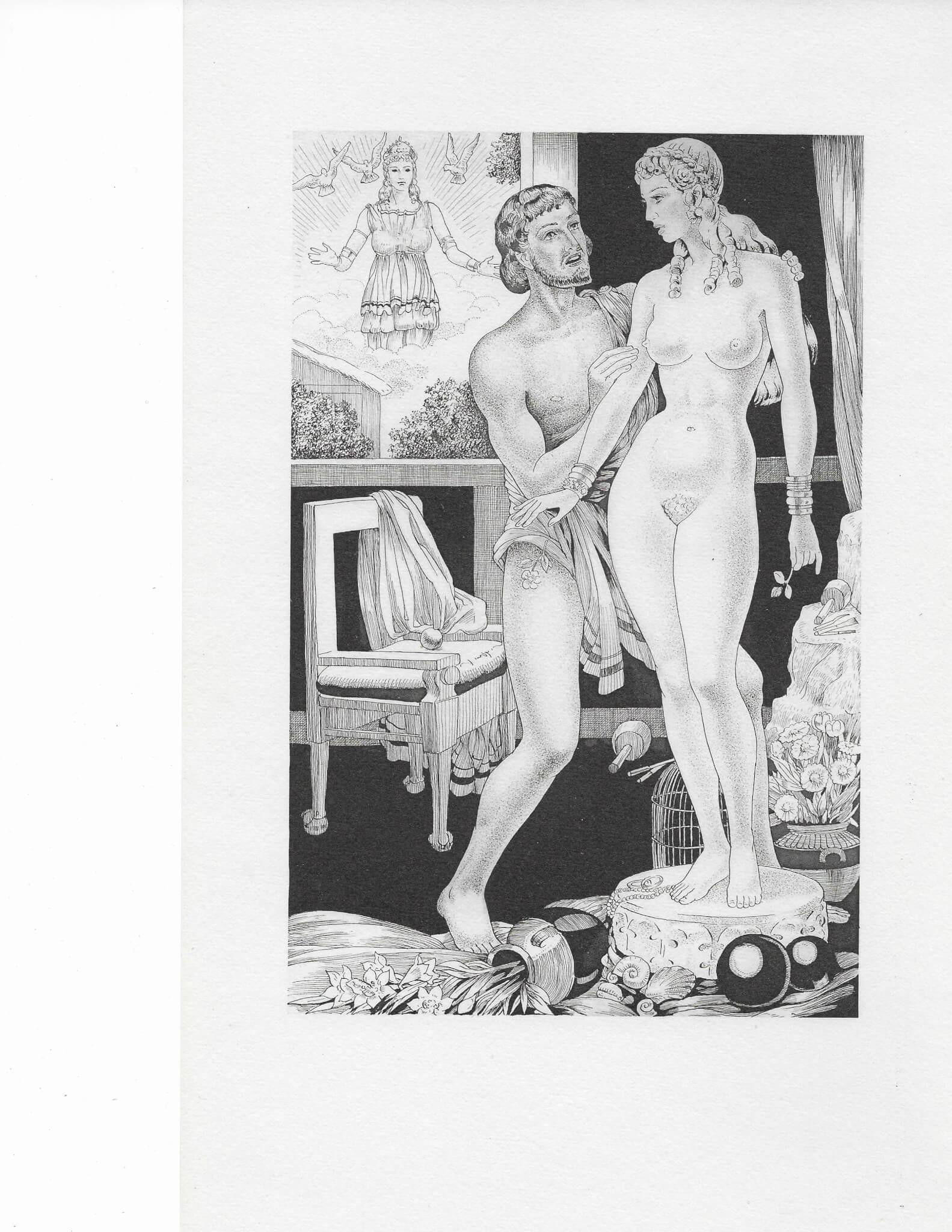 雕刻家愛上自己雕成的美人 見第十卷 Pygmalion