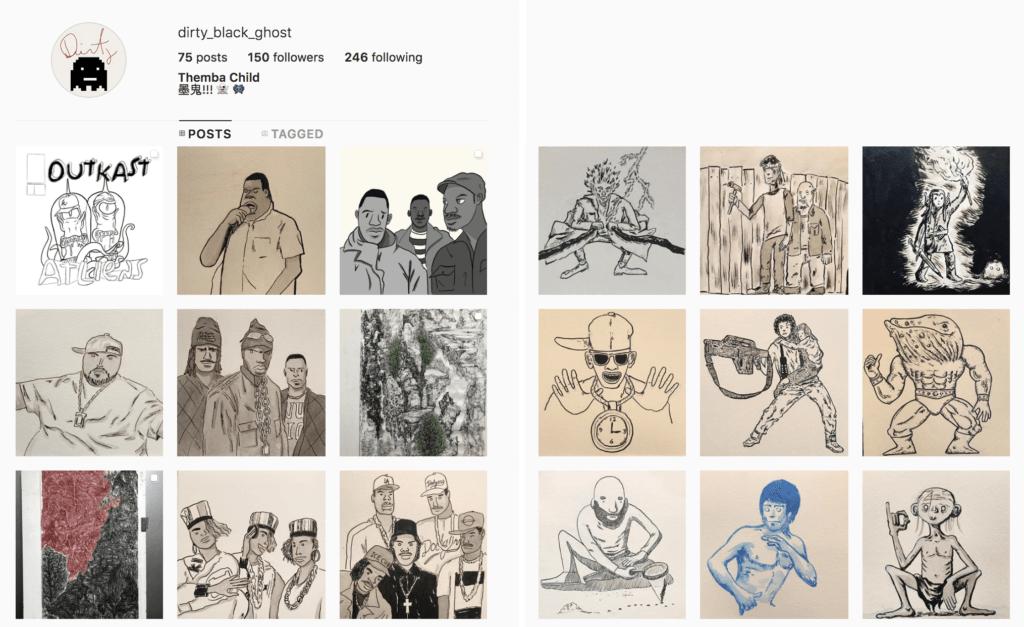 除了水墨畫創作,Themba在社交平台亦會分享具美式漫畫風格的插圖作品。