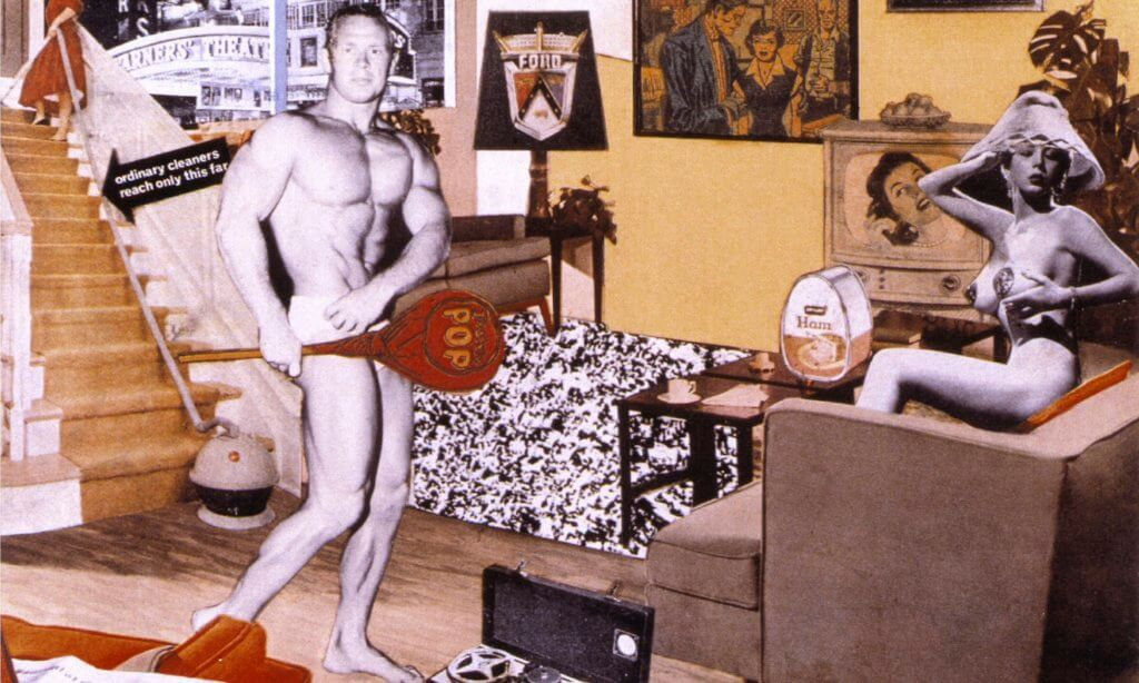 第一件普普藝術作品由Richard Hamilton以collage(拼貼)的手法完成,名為《Just What is it That Makes Today's Homes So Different, So Appealing? 》,對傳統藝術作了最直白的挖苦和諷刺。