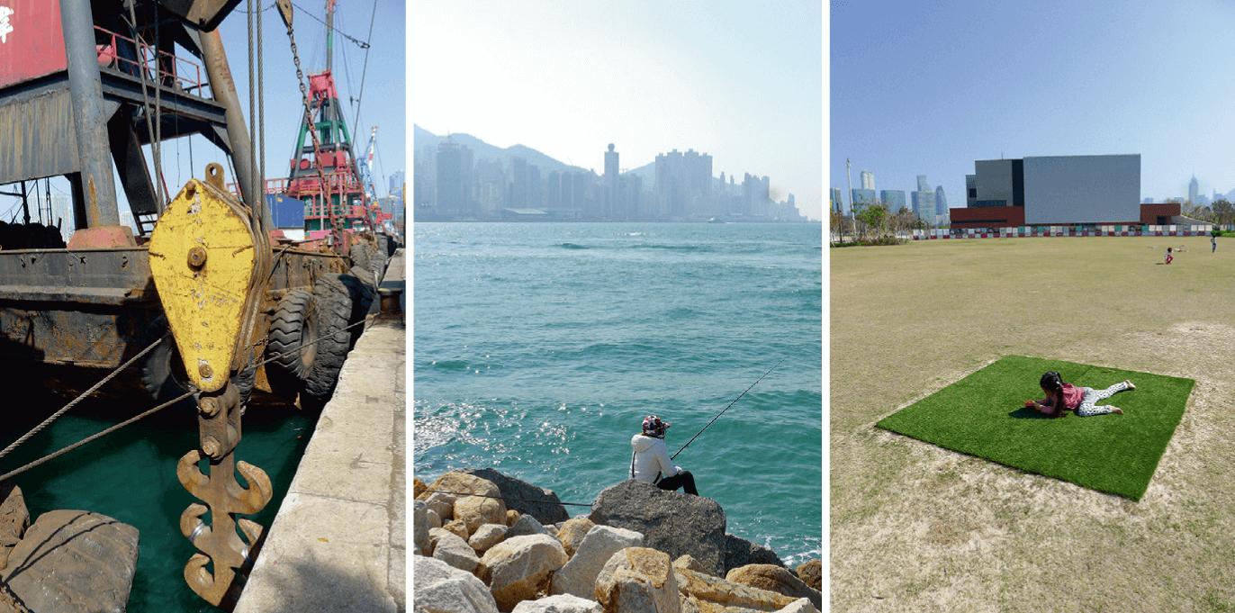 西九龍文化區:停泊在鄰近碼頭的小船;海濱垂釣;草地嬉戲。(圖片由作者提供)