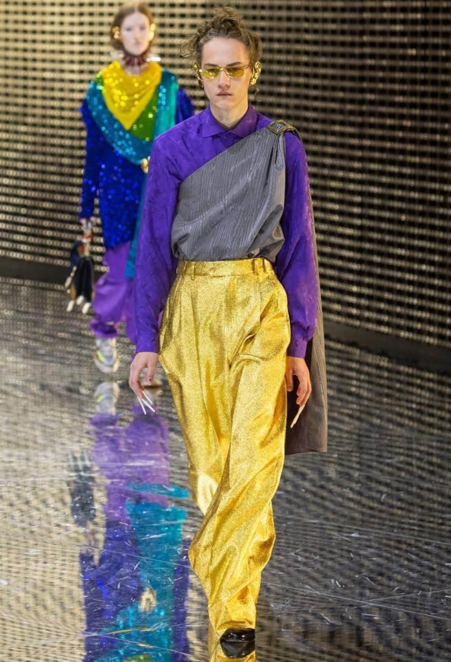 Gucci FW19 模特兒穿上刺繡衫