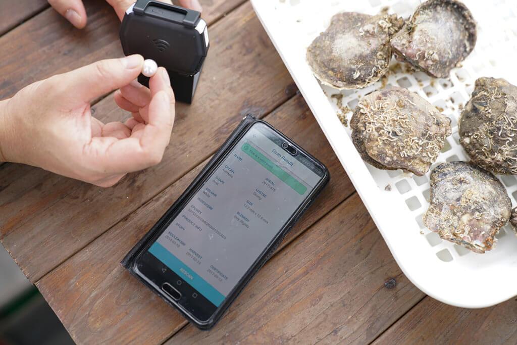 養珠前把無線射頻辨識(RFID)晶片植入珠核,長大了的珍珠採收後,用閱讀器一「嘟」,產地、大小等資料便一目瞭然。
